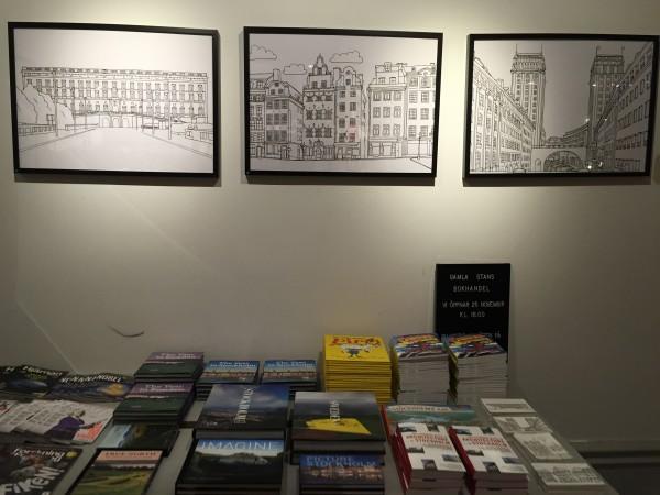 Gamla stans bokhandel Stockholmsmotiv